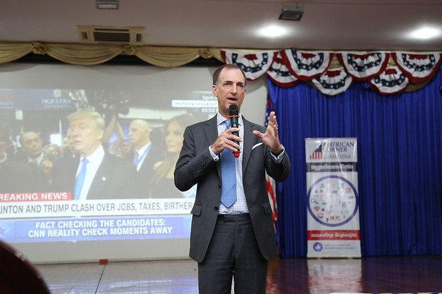 Over 200 students join State Department's Deputy Coordinator for Programs Thomas Smitham to watch and discuss the first presidential debates.