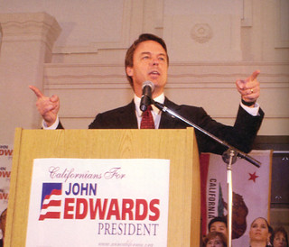 James Solomon '06 and Kyle Warneck '05 helped coordinate a Pomona College campus visit from 2004 Presidential nominee John Edwards in February 2004.