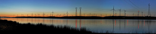 california sunset panorama orange black color reflection northerncalifornia nikon energy power dusk large panoramic silouette bayarea february stitched windfarm sacramentocounty sacramentoriver turbines riovista solanocounty 2013 d700