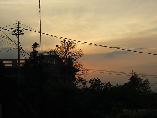 shadow sky orange sunrise wire