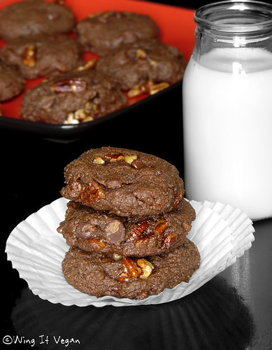 Choco-Chocolate Chip Praline Cookies   by River (Wing-It Vegan)