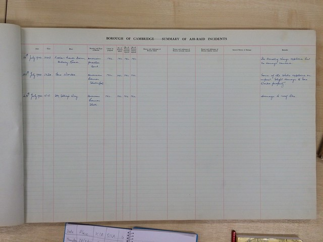 Cambridge log book of air raids on the borough during the Second World War