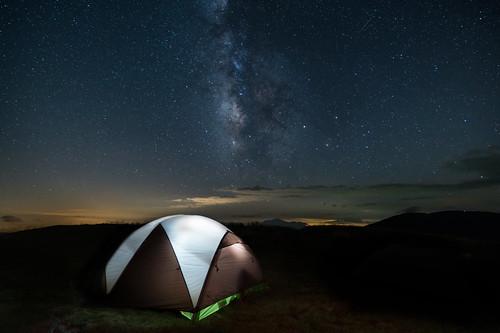 camping milkyway roanmountain astrophotography roanhighlands tent meteor milkywayovertent littlehumpmountain appalachiantrail northcarolina tennessee