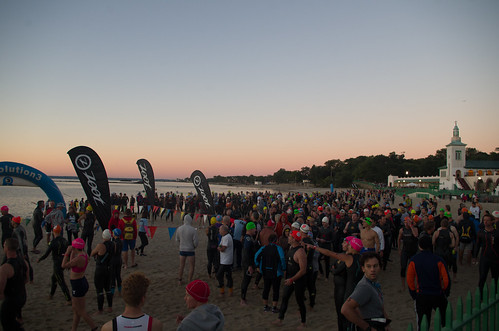 zootwestchestertriathlon sunrise beach rye playland triathlon swim people crowd outdoor dawn