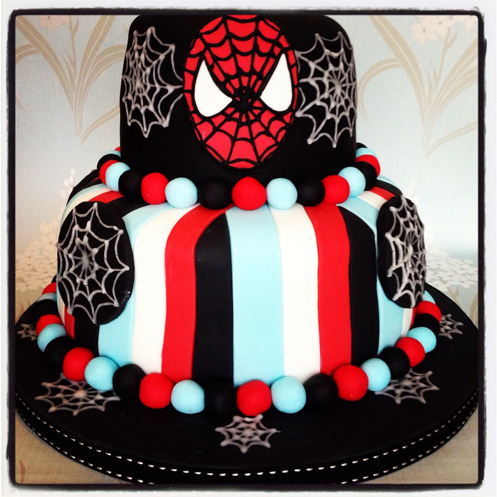 Excellent Spider Man Birthday Cake Two Tier Spider Man Birthday Cake Flickr Funny Birthday Cards Online Inifofree Goldxyz