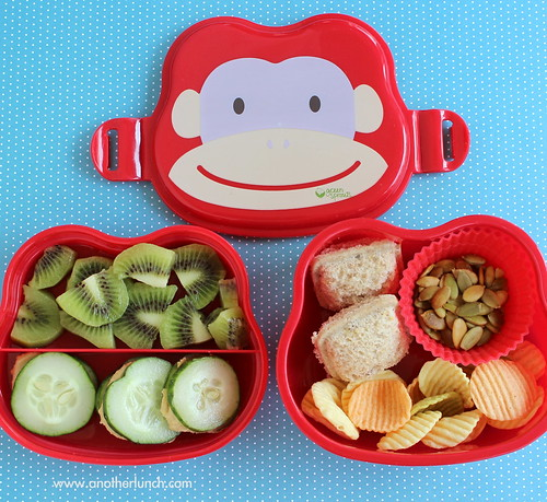 Monkey Face bento box lunch with sandwich ravioli | by anotherlunch.com
