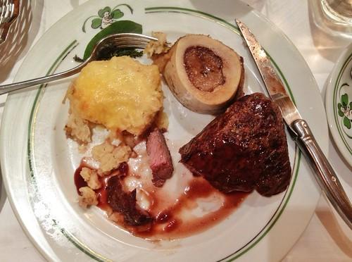 Eating steak at Au Pied de Cochon   by Jyoti Mishra