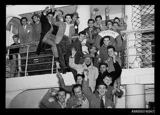 Migrants in a group on the MV TOSCANA at Trieste January 1954