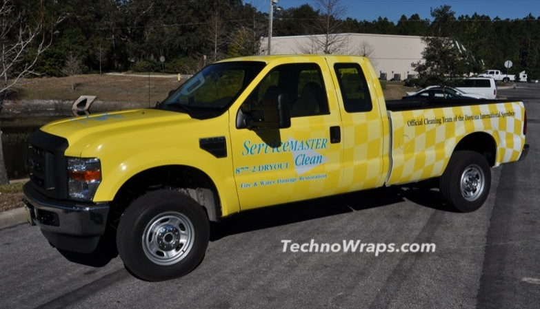 Vinyl graphics wrap on truck in Orlando