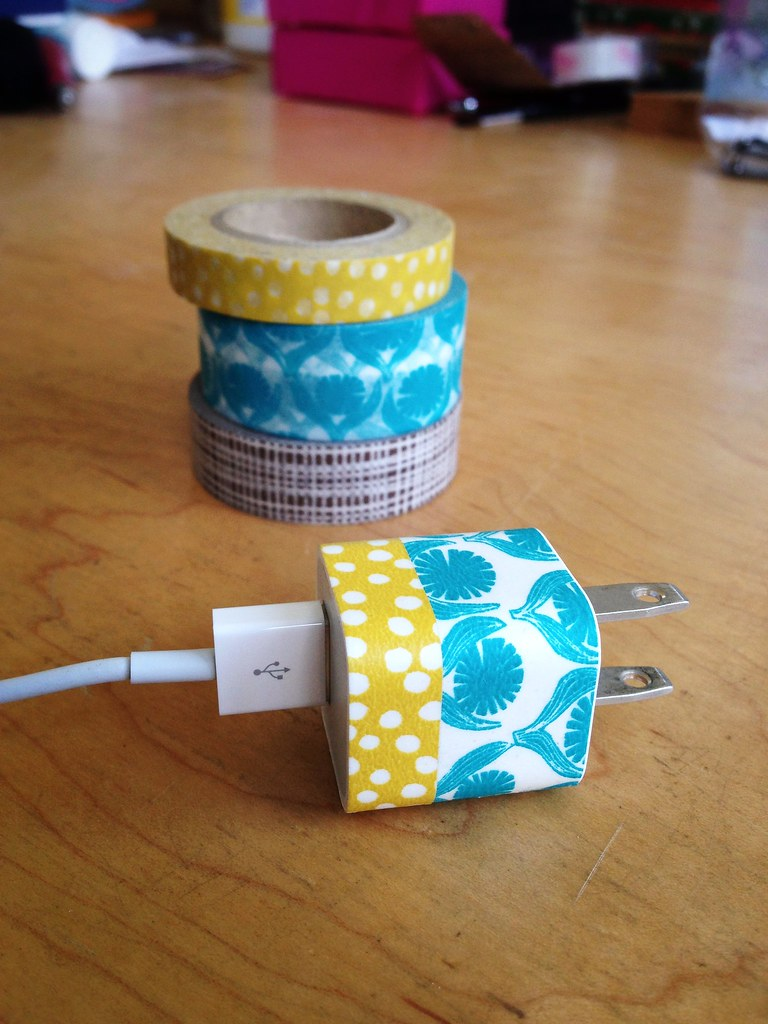 DIY Washi Tape Apple Charger