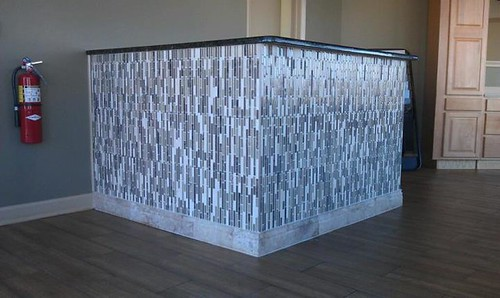 Glass tile reception area