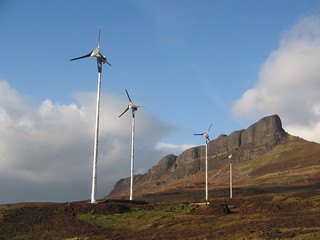 eigg wind turbines with sgurr in background 2 | by isleofeigg