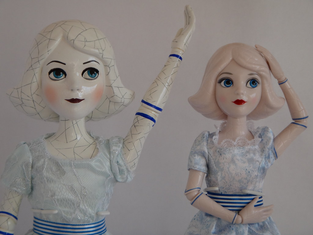 Comparing China Girl Dolls - Disney Store vs Tollytots - Oz The Great and Powerfull - On Display Stands - Testing Posability - Simon Says - Midrange Front View