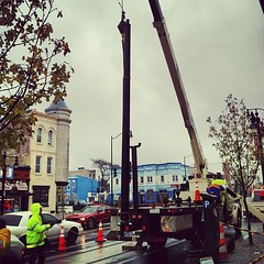 Doing streetcar pole work on H/Benning