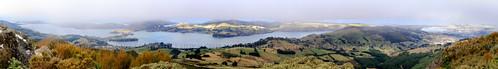 newzealand landscape puerto harbour cities cityscapes panoramas paisaje paisagem hills ciudades porto otago peninsula 2010 photostitch novazelândia cidades península nuevazelanda colinas lowcloud nuvensbaixas
