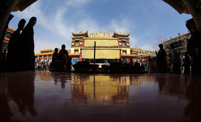 3320 The facade of the monastery at Zhouni -- Gansu Province , China