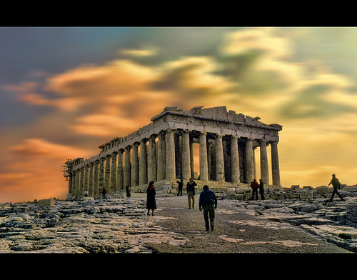 winter light sky people mountain snow building walking photography foot photo ancient different path surrealism hill stock dramatic surreal philosophy athens greece directions civilization glowing flowing wandering stockphoto stockphotography akropolis wpk