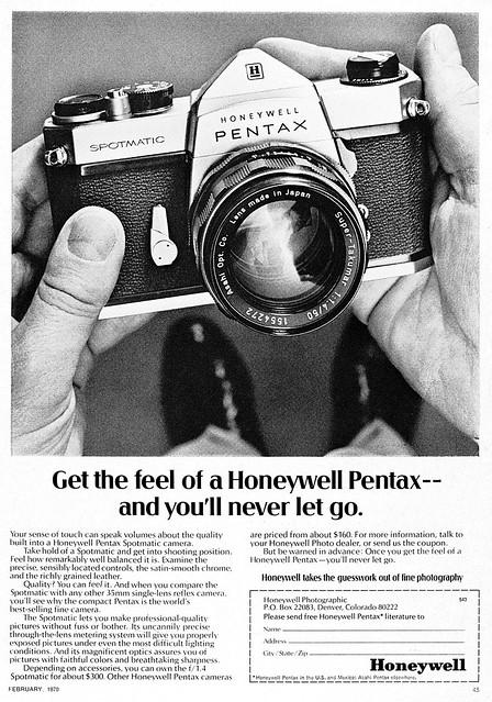 Pentax Spotmatic camera advertisement.