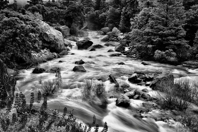 Rapids of the Merced River (Black & White, Yosemite National Park)