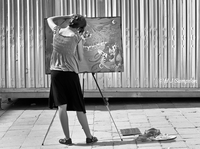 She paints her version of Venice