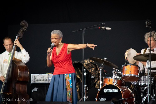 Germaine Bazzle in the WWOZ Jazz Tent on Friday, May 2, 2018. Photo by Keith Kujath.