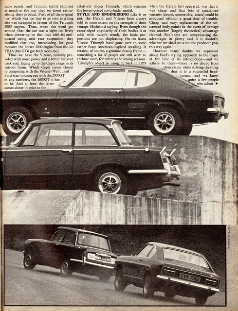 Ford Capri 1600 GT & Triumph Vitesse Mk2 Twin Road Test 1969 (2)