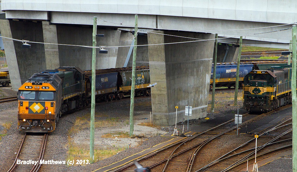 BL32-XR554 on BG grain to Tottenham Yard with X44 loco (right) at Appleton Docks (17/3/2013) by Bradley Matthews