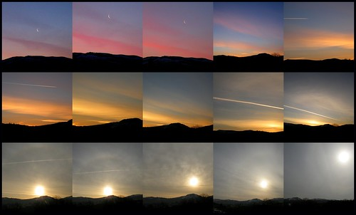 uk pink blue light sky cloud sun moon nature silhouette yellow collage wales clouds sunrise dawn spring pattern colours hills april chemtrails 2013 rospix