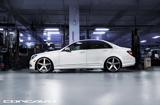 Mercedes Benz C300 on CW-5 Matte Black Machined Face | by Concavo Wheels
