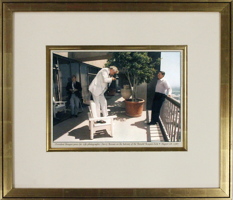 Ronald Reagan at Century Plaza Hotel posing for Life Photographer
