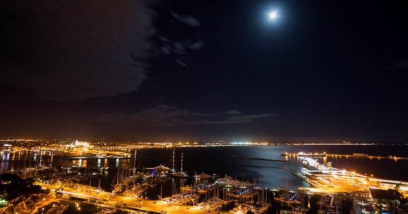 Palma De Mallorca De Noche Desde La Terraza Hotel Amic Hor