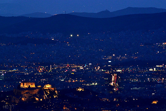Famous buildings of Athens: the Allou fun park ferris wheel, March 2013