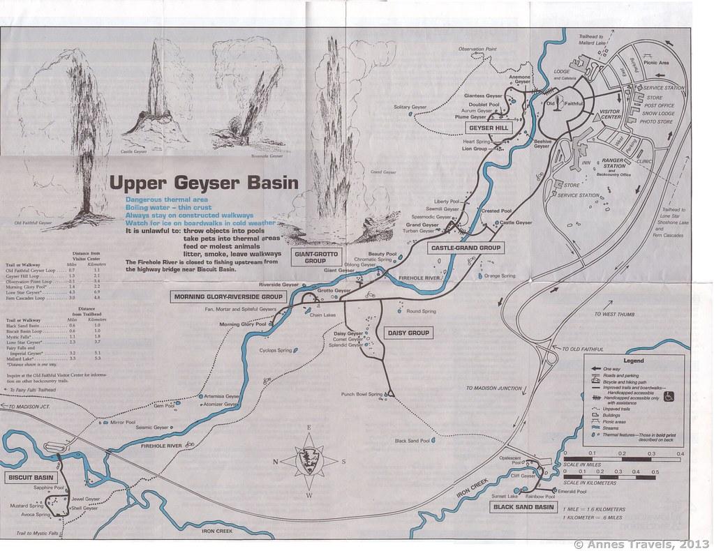 Upper Geyser Basin Map 1995   A trail map of the Upper Geyse ...