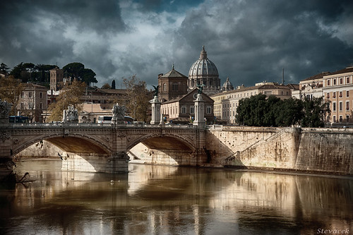 old travel bridge italy rome roma tourism monument river sightseeing tiber hdr december2012