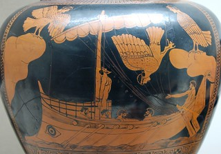 Odysseus and the Sirens, eponymous vase of the Siren Painter, ca. 480-470 BC   by Cea.