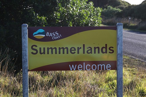 Bass Coast Shire 'Welcome to Summerlands' sign on the main road