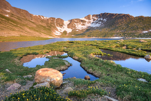 morning blue summer favorite mountains green sunrise reflections colorado unitedstates evergreen rockymountains ponds tundra waterscapes mountevanswilderness