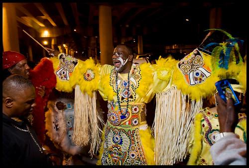 Fi-Yi-Yi and the 9th Ward Mandingo Warriors Big Chief Victor Harris on Saint Joseph's Night 2013. by Ryan Hodgson-Rigsbee (http://rhrphoto.com/)