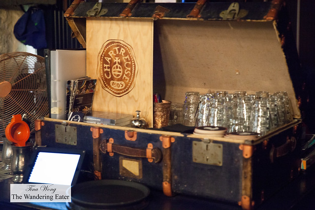 Vintage style trunk with glassware