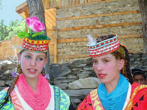 Kalash People traditional dress in Chitral Pakistan