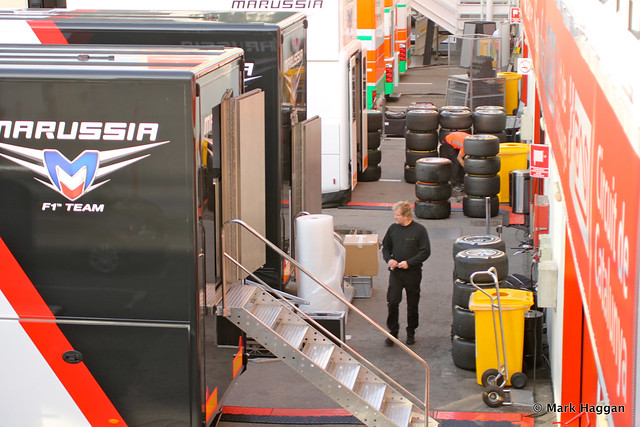 The Marussia area in the paddock at Formula One Winter Testing, 3rd March 2013