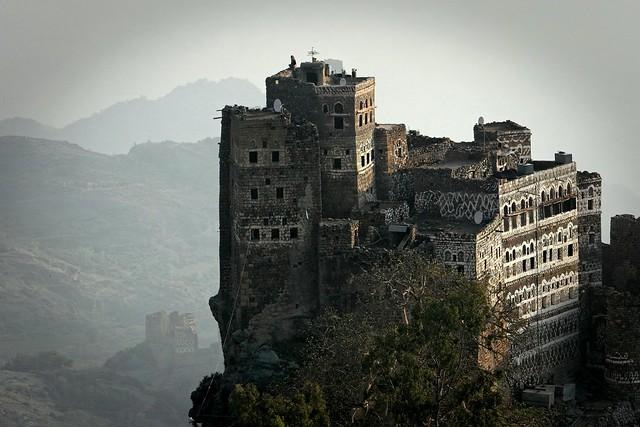Yemen: habitations dans le djébel Haraz.