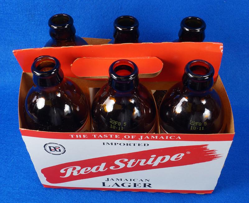 RD14201 6 Red Stripe 12 oz Brown Stubby Beer Bottles in Original 6 Pack Carton DSC05341