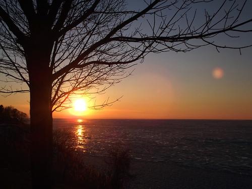 sunset ohio sky sun lake tree ice lakeerie sunsetpark