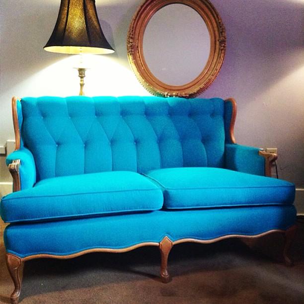 reworked turquoise vintage settee