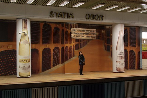 Wine advertising covers Obor station on the Bucharest Metro
