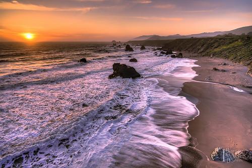 ocean california sunset sea sky sun seascape color beach water northerncalifornia clouds sand nikon rocks stream waves cliffs coastline sonomacounty whitewash seastacks d600 sonomacoast sonomacoastline rmbimages bestevergoldenartists robertbowmanphotography
