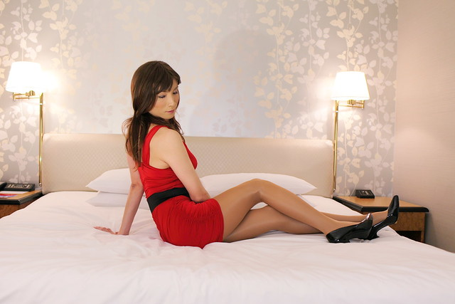 Red V Neck Long Sleeve Over Knee Girdle Bandage Dress