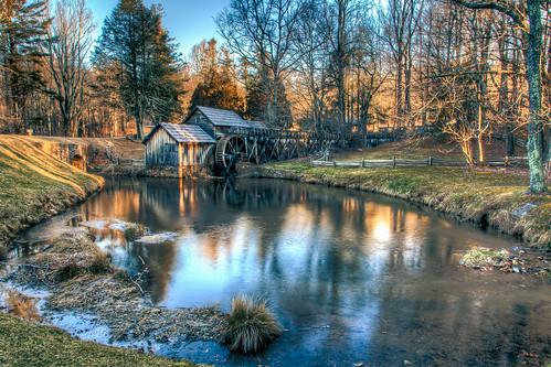winter usa mill water sunrise landscape outdoors virginia landscapes us pond unitedstates va hdr blueridgeparkway gristmill mabrymill meadowsofdan burksfork