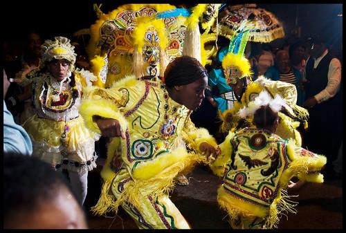 Fi-Yi-Yi and the 9th Ward Mandingo Warriors dancing in the streets on Saint Joseph's Night 2013. by Ryan Hodgson-Rigsbee (http://rhrphoto.com/)